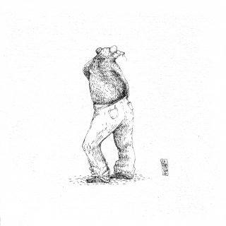 El gesto esquinero - tinta sobre tela - 16 x 16 cm