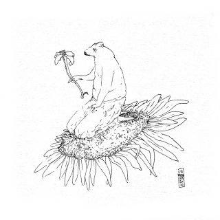 Polen - tinta sobre tela -16 x 16 cm